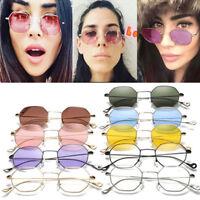 Fashion Women Hexagon Square Sunglasses Mirrored Metal Frame Men Clear Glasses