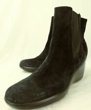 Sperry Top-Sider Wos Ankle Boots US 8.5 M Black Suede Pull On Chelsea Wedge