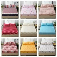 Elastic Fitted Sheet Queen King Size Bedding Cover Pillowcases Microfibber