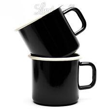 2 x Trinkbecher Münder Emaille Email Geschirr Kaffee Tasse Camping schwarz-creme