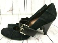 Nine West Black Suede Buckle Strap Cuban Heels Size UK 4 EU 37