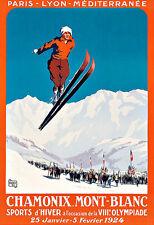 Art ad Chamonix Mont Blanc Esquí Esquí Viaje Deco cartel impresión