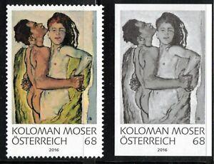 2016 Austria K. Moser Lovers Painting MNH stamp + rare blackprint
