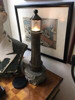 A Large  Vinage Serpentine Cornish Marble & Granite Lighthouse Table Lamp C1960