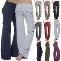 US Women Loose Yoga Cargo Pants Wide Leg Palazzo Sport Pockets Leggings Trousers