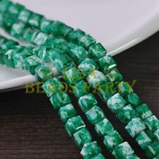 New 30pcs 8mm Cube Square Faceted Glass Loose Spacer Colorful Beads Green