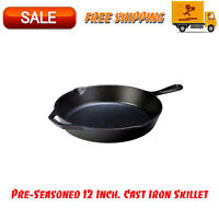 Pre-Seasoned 12 Inch. Cast Iron Skillet w/ Assist Handle, Kitchen Home, Cookware