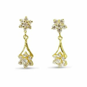 Pre-owned 22ct Gold Cluster Drop Earrings