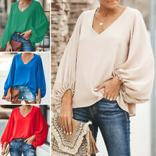 Womens Balloon Sleeve Blouses Ladies V-neck Casual Fashion T-Shirts Pullover Top