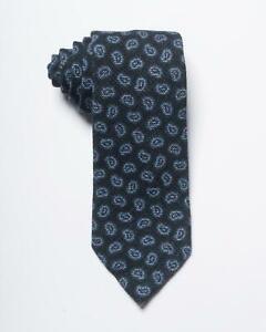 "Isaia Napoli NWT Blue Tonal Small Paisley Print 100% Wool Tie 3.25"""
