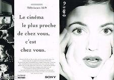 PUBLICITE ADVERTISING 065  1995  SONY téléviseur 16/9 SUPER TRINITRON WIDE ( 2p)