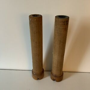 Antique Matching Pair Candlesticks Wooden Sewing BOBBINS SPINDLES SPOOLS