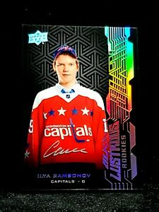 2018-19 UD Black Lustrous Rookie Auto Ilya Samsonov Rookie On Card Autograph