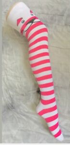 Ladies Thigh High Cotton rich pink & White with Cat striped Socks Size 4/7