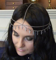 Women Metallic Silver Bohemian Retro Cross Chain Party Head hair headband Tassel