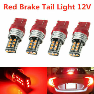 4PCS T20 7440 7443 Red LED Strobe Flash Blinking Brake Tail Light/Parking Bulbs