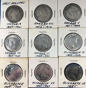 Lot of Canada Half Dollars (1872-1969) ~ 9 Different Types  ~ Silver