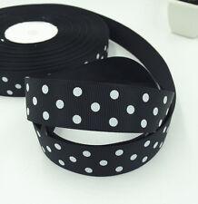 "Black 5 Yards 1""( 25mm)  printed lot large dots Grosgrain Ribbon lot"
