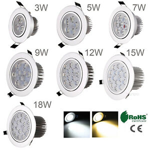 Dimmable 3W 5W 7W 9W 12W 15W 18W LED Recessed Ceiling Down Light Lamp 85-265V