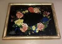 Vintage Naive Folk Art Reverse Painting On Glass Foil Art- Floral Wreath