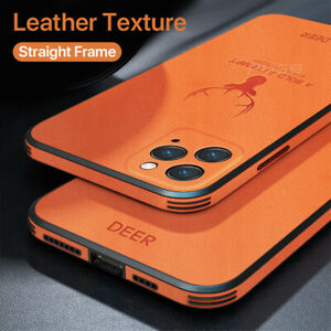 Luxury Leather Texture Frame Case For iPhone Deer Protection Shockproof Cover