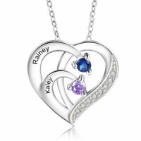 Sterling Silver Personalized Women Necklaces Heart Pendant Engrave Name Mom Gift