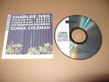 Charles Ives Donna Coleman Concord Sonata 3 Page Sonata cd9 tracks 1989 Ex Condi