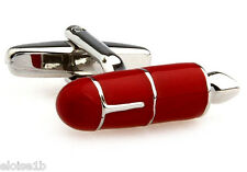 CLASSIC RED SILVER FOUNTAIL PEN CUFFLINKS WITH VELVET POUCH BOW TIE HEAVEN