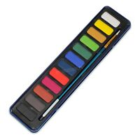 Artists 12 Tempera Colour Paint Brush & Tin Pack Art Sketching Painting Palette