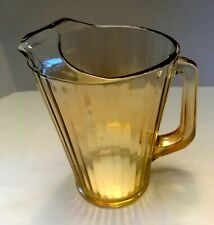 """Amber ribbed glass 1 1/2 Qt. water/juice pitcher w ice lip 8"""" tall X 5.5"""" wide"""