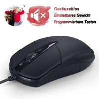 USB Gaming Maus Optisch Geräuschlos Mouse Wired PC Maus Laptop Computer Schwarz