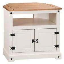 Corner TV Unit Cabinet In Painted Cream And Brown