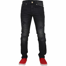 Mens Crosshatch Stretch Biker Ripped Jeans Slim Fit Denim Distress Frayed New