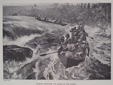 Henry Stanley Shooting the Rapids of the Congo Africa Print 1894