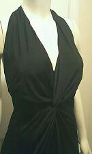 NEW SEXY Jessica McClintock Black Dress Full Length Halter Neck Open Back 14 16