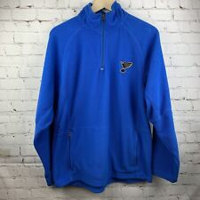 St. Louis Blues NHL Hockey Men's Fleece Pullover 1/4 ZIP Jacket Blue Size Small