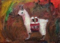 Original Oil Painting by Anawanitia Dolly Llama Peruvian Style Art