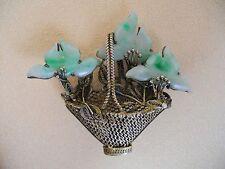 Antique Oriental Gild Silver & Jade Brooch / Pin Weaved Basket & Jade Flowers