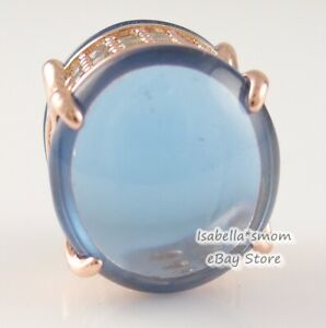 BLUE OVAL CABOCHON Authentic PANDORA Rose GOLD Plated Charm 789309C01 NEW w BOX