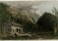 Notch House White Mountains NH c.1850 Bartlett view print lovely hand color