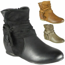 Womens Wedge Boots Ladies Ankle Hidden Casual Warm Work Zip School Shoes Sizes