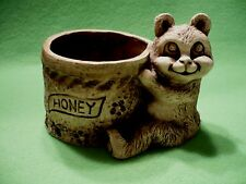 Vintage rare POMPADOUR Honey Bear & pot with honey bees and flowers in wood pulp