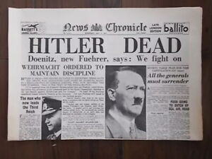 NEWS CHRONICLE WWII NEWSPAPER MAY 2nd 1945 - HITLER IS DEAD -DOENITZ NEW FUEHRER