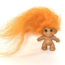 "Vintage 60s 70s 2.5"" troll Dam Wishnik Very Long Orange Mohair Green Spiral Eyes"
