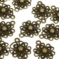 20pcs Antique Bronze Filigree Flower Connector DIY Craft Jewelry Findings