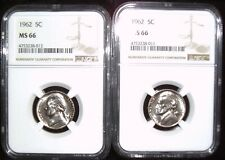 1962 Jefferson Nickle NGC MS 66 Cameo Appearance