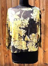 St. John Black Label Crop Yellow Top Metallic Wool Boxy Fit Top Size XL Blouse