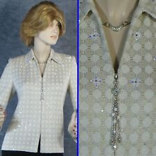 STUNNING! ST JOHN EVENING KNIT OFF-WHITE JACKET W/CRYSTALS & PAILLETTES  SZ 8