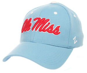 MISSISSIPPI OLE' MISS REBELS NCAA LIGHT BLUE FLEX CAP HAT ZH Z-FIT SIZE: M/L NWT