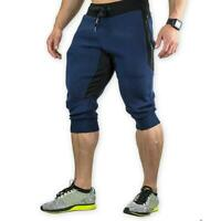 Mens 3/4 Joggers Pants Sweatpants Bodybuilding Capri Shorts Gym Workout Fitness